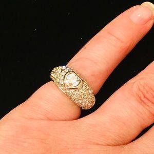 Rhinestone Crystal Silver Plated Engagement  Ringx